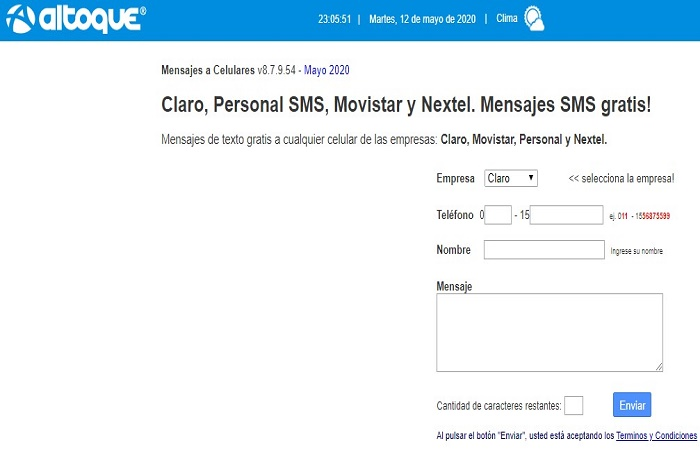 Personal SMS Online GRATIS - Envía mensajes en Argentina 2