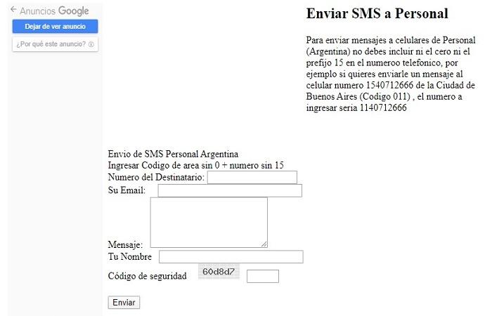 Personal SMS Online GRATIS - Envía mensajes en Argentina 4