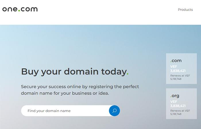 one.com con dominio gratuito